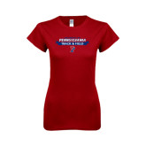 Next Level Ladies Softstyle Junior Fitted Cardinal Tee-Pennsylvania Track & Field Banner