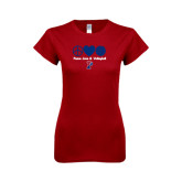 Next Level Ladies Softstyle Junior Fitted Cardinal Tee-Peace Love & Volleyball