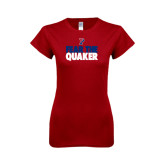 Next Level Ladies SoftStyle Junior Fitted Cardinal Tee-Fear The Quaker