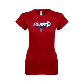 Next Level Ladies Softstyle Junior Fitted Cardinal Tee-Soccer w/ Flying Ball