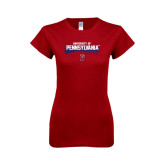 Next Level Ladies Softstyle Junior Fitted Cardinal Tee-Pennsylvania Lacrosse Stacked