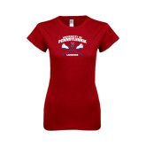 Next Level Ladies Softstyle Junior Fitted Cardinal Tee-Lacrosse w/ Crossed Sticks