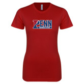 Next Level Ladies SoftStyle Junior Fitted Cardinal Tee-Penn Swimming & Diving