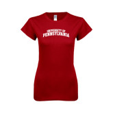 Next Level Ladies SoftStyle Junior Fitted Cardinal Tee-University of Pennsylvania Arched