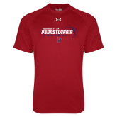 Under Armour Cardinal Tech Tee-Penn Football Flat