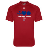 Under Armour Cardinal Tech Tee-Peace Love & Volleyball