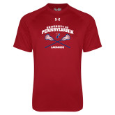 Under Armour Cardinal Tech Tee-Pennsylvania Lacrosse Crossed Sticks