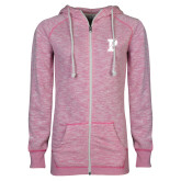 ENZA Ladies Hot Pink Marled Full Zip Hoodie-Split P