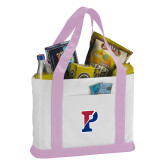 Contender White/Pink Canvas Tote-Split P