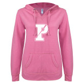 ENZA Ladies Hot Pink V Notch Raw Edge Fleece Hoodie-Split P