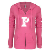 ENZA Ladies Hot Pink Light Weight Fleece Full Zip Hoodie-Split P