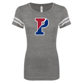 ENZA Ladies Dark Heather/White Vintage Football Tee-Split P