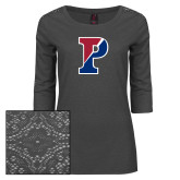 Ladies Charcoal Heather Lace 3/4 Sleeve Tee-Split P