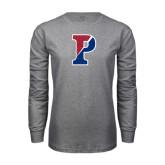 Grey Long Sleeve T Shirt-Split P Distressed