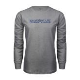 Grey Long Sleeve T Shirt-University of Pennsylvania