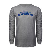 Grey Long Sleeve T Shirt-University of Pennsylvania Arched