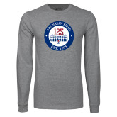 Grey Long Sleeve T Shirt-Franklin Field 125 Logo