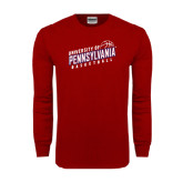 Cardinal Long Sleeve T Shirt-Pennsylvania Basketball Slanted