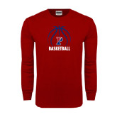 Cardinal Long Sleeve T Shirt-Penn Basketball Stacked w/ Ball