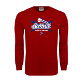 Cardinal Long Sleeve T Shirt-Softball w/ Crossed Bats