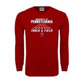 Cardinal Long Sleeve T Shirt-Track & Field Lanes