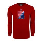 Cardinal Long Sleeve T Shirt-Bleed Red & Blue