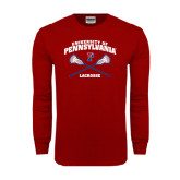 Cardinal Long Sleeve T Shirt-Lacrosse w/ Crossed Sticks