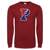 Cardinal Long Sleeve T Shirt-Split P Distressed
