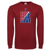 Cardinal Long Sleeve T Shirt-Bleed Red & Blue