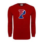 Cardinal Long Sleeve T Shirt-Split P Distressed