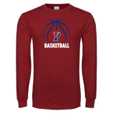Cardinal Long Sleeve T Shirt-Penn Basketball Under Ball