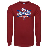 Cardinal Long Sleeve T Shirt-Penn Softball Crossed Bats
