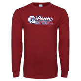 Cardinal Long Sleeve T Shirt-Penn Softball Script
