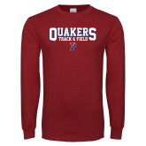 Cardinal Long Sleeve T Shirt-Quakers Track and Field