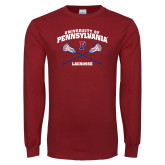 Cardinal Long Sleeve T Shirt-Pennsylvania Lacrosse Crossed Sticks