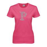 Ladies Fuchsia T Shirt-Split P Rhinestones