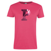 Ladies Fuchsia T Shirt-Split P Foil