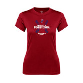 Ladies Syntrel Performance Cardinal Tee-Pennsylvania Baseball Seams