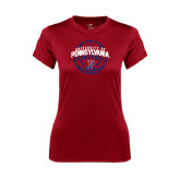 Ladies Syntrel Performance Cardinal Tee-Pennsylvania Basketball in Ball