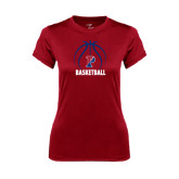 Ladies Syntrel Performance Cardinal Tee-Penn Basketball Stacked w/ Ball