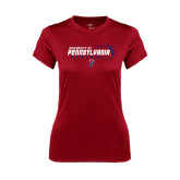 Ladies Syntrel Performance Cardinal Tee-Pennsylvania Football Stacked