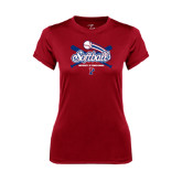 Ladies Syntrel Performance Cardinal Tee-Softball w/ Crossed Bats
