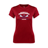 Ladies Syntrel Performance Cardinal Tee-Lacrosse w/ Crossed Sticks