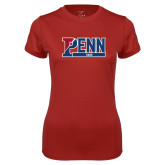 Ladies Syntrel Performance Cardinal Tee-Penn Band 1