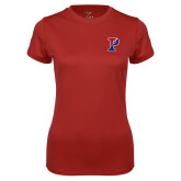 Ladies Syntrel Performance Cardinal Tee-Split P