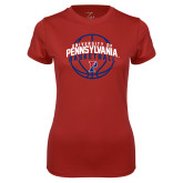 Ladies Syntrel Performance Cardinal Tee-Pennsylvania Basketball Arched