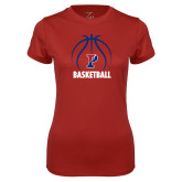 Ladies Syntrel Performance Cardinal Tee-Penn Basketball Under Ball