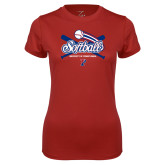Ladies Syntrel Performance Cardinal Tee-Penn Softball Crossed Bats