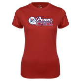 Ladies Syntrel Performance Cardinal Tee-Penn Softball Script