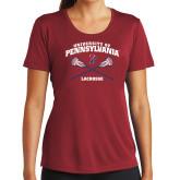 Ladies Syntrel Performance Cardinal Tee-Pennsylvania Lacrosse Crossed Sticks